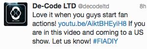 Twitter De-Code LTD : On adore ça quand vous commencez des fan actions!