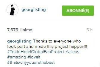 Instagram Georg Listing : Merci à tous ceux qui ont participé et qui ont permis à ce projet de se faire !!!!!!