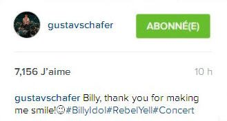 Instagram ustav Schafer : Billy, de me faire sourire!😉#BillyIdol#RebelYell#Concert