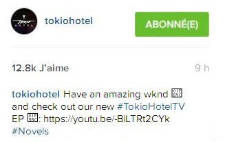 Instagram Tokio Hotel : Passez un super weekend