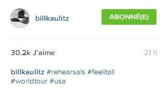 Instagram Bill Schafer : #répétitions #feelitall #tournéemondiale #usa