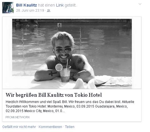 Article de promiapp.de : Première déclaration concernant le «chat» avec Bill Kaulitz
