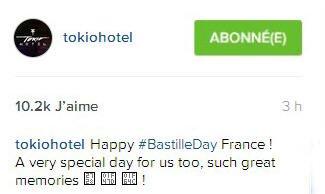 instagram Tokio Hotel : Tokio Hotel:  Joyeuse #Fêtenationale France! Un jour très spécial aussi pour nous, de supers souvenirs!