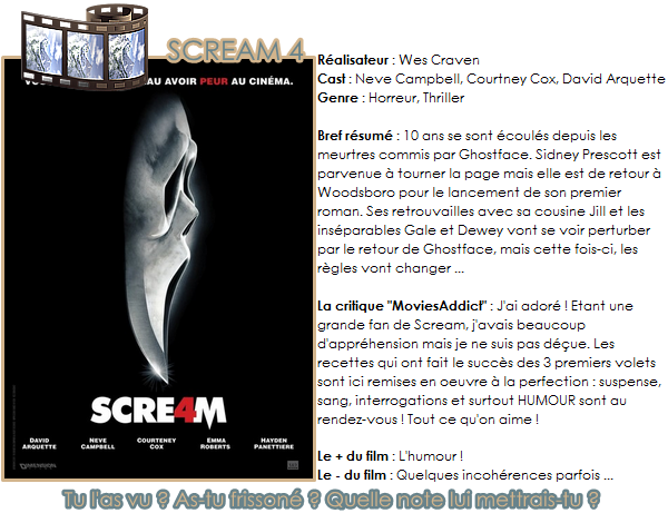 . ♦ SCREAM 4 ♦ ___________ Ma note : ★★★★★ .