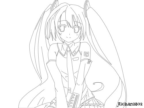 Colouring Pages Coloring book Kagamine Rin/Len Hatsune Miku ... | 375x500