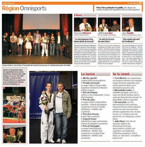 Article de presse mérite sportif 2011 prix de l'espoir Le Duc Jeffrey