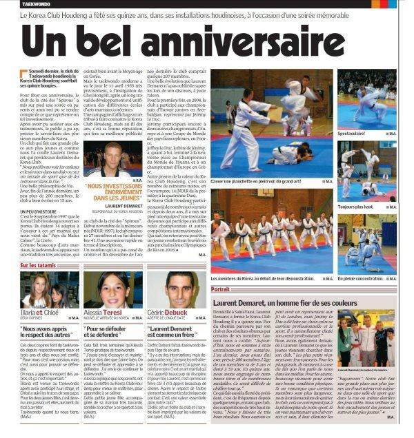 Article de presse pour les 15 ans du club