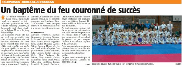Article de presse inter-clubs du 25 novembre 2012