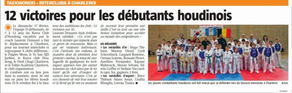 Article de presse interclubs à charleroi