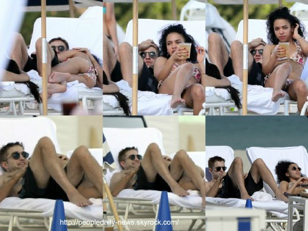 7 décembre 2014 : Robert Pattinson et FKA Twigs ont été vus sur une plage à Miami