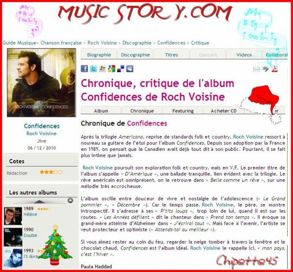"►☼►☼ Music Story.com - Critique de ""Confidences"" ☼►☼►"