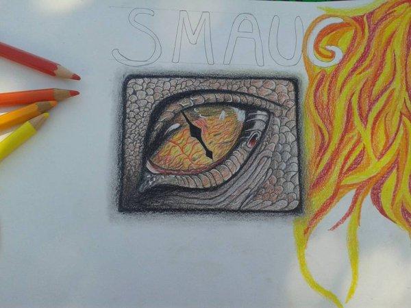 avancé du dessin de l'oeil de Smaug