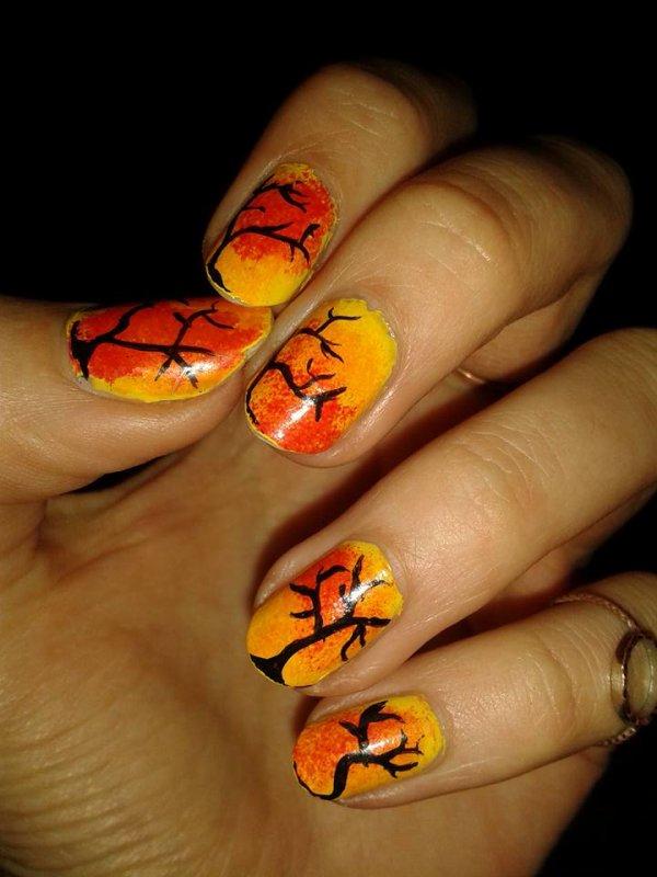 nail art arbres hivernaux