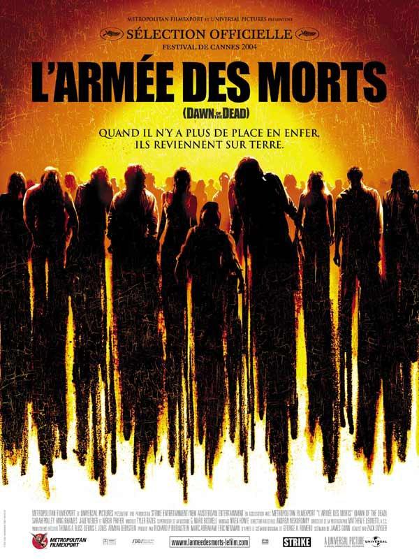 L'armée des morts (2004), super film que j'ai aimé, je vous résume vite fait après à vous de (re) découvrir si vous le souhaitez... Résumé :Un groupe de jeunes gens doit échapper à une horde de zombies assoiffés de chair fraîche. Ils se réfugient dans un centre commercial que tentent d'envahir les mort-vivants. Bientôt, les vivres et les munitions viennent à manquer...