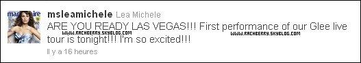 21 MAI 2011 ▬  Lea et le cast de Glee a la premiere du Glee tour ; Las Vegas .