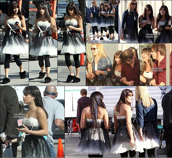 05 NOVEMBRE 2010 ▬  Lea et le cast ont étés une nouvelles fois apercue sur le set de l'épisode des Regionale de Glee !