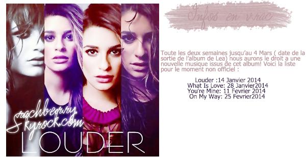 """________CHANSON _  Découvrez """"Battlefield"""" une nouvelle chanson issue de l'album de Lea """"Louder"""". _____ ____ ______LOUDER  -' Cette chanson est parfaite et n'est en aucun cas en hommage a Cory !"""