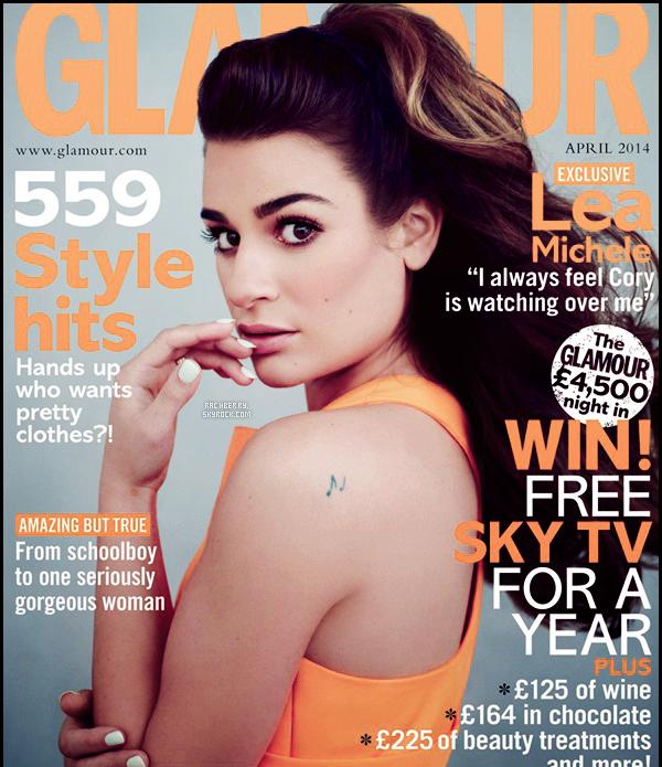 """PHOTOSHOOT // Lea faisant la couverture du magazine """"Glamour UK"""" du mois d'Avril 2014. J'adore le shoot !"""