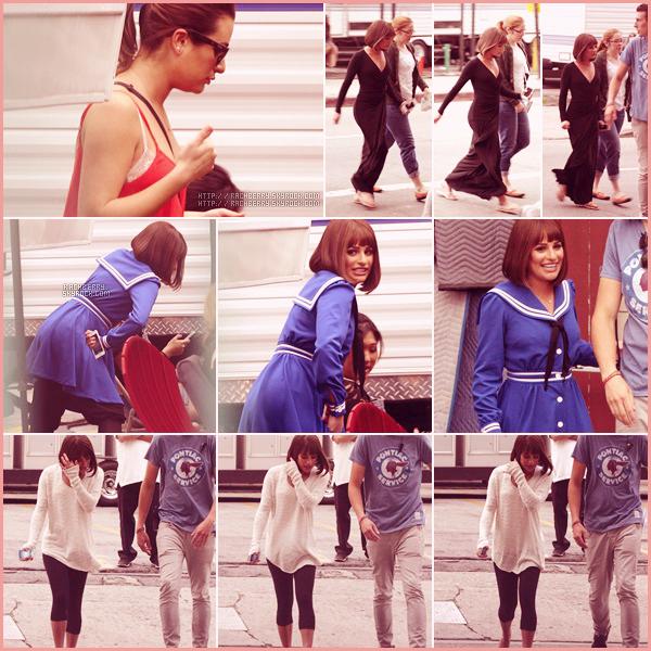 APRIL10TH // Lea a été apercue sur le set de Glee dans la peau de Fanny Brice. Lea porte une perruque.