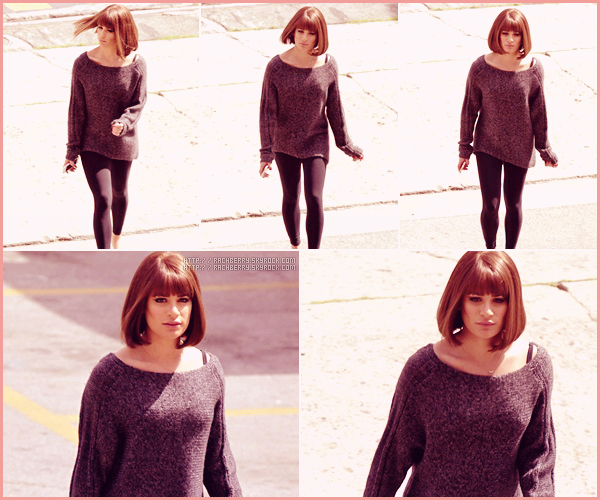 APRIL09TH // Lea a été apercue sur le set de Glee dans la peau de Fanny Brice (funny Girl).