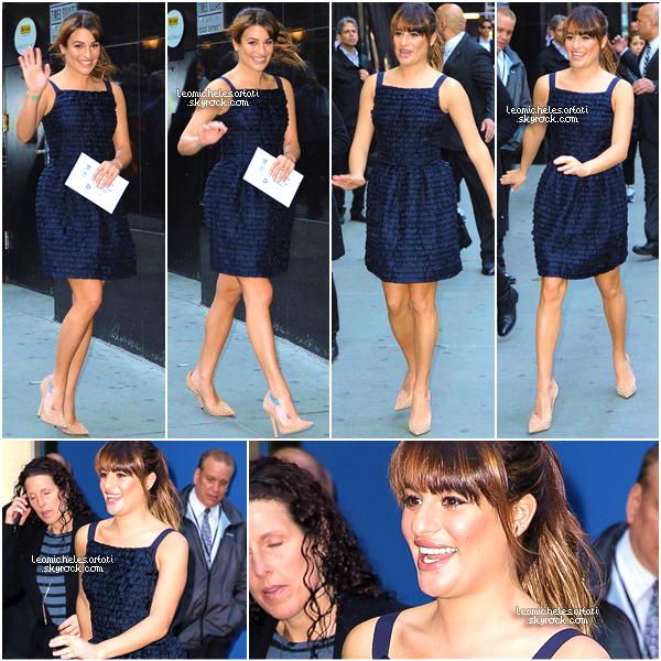 """·••MAY 19THl Lea c'est rendue sur le plateau de  """"Good Morning America"""" pour la promo de Brunette Ambition. ▲  J'aime totalement sa coiffure et sa robe bleue Marine. Son make up est juste  trop beau. C'est un top pour ma part , vos avis?"""