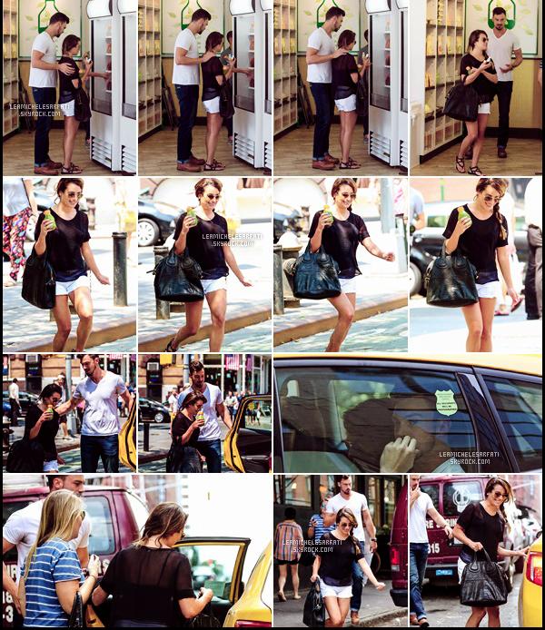 """JULY 23RD // Lea a été vue allant déjeuner puis dans le magasin """"Organic Avenue"""" avec une amie et Matthew."""