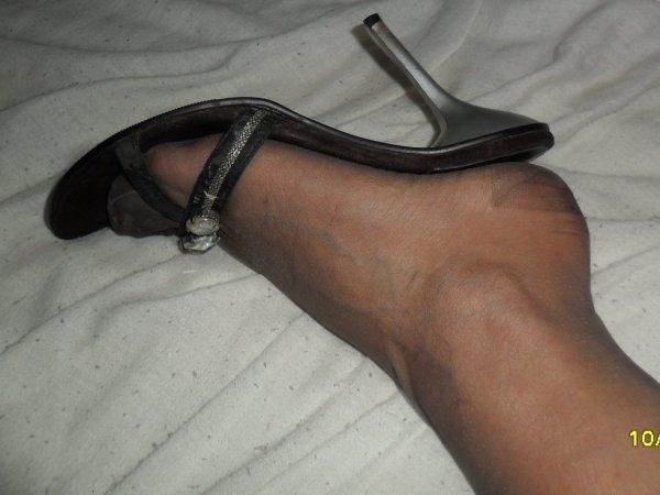en collant et mules sexy