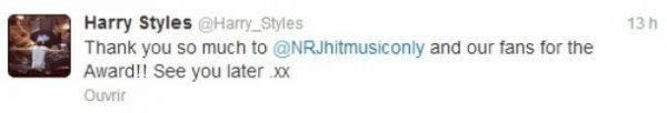 One Direction remercient leurs fans pour les NRJ Music Awards 2013 !