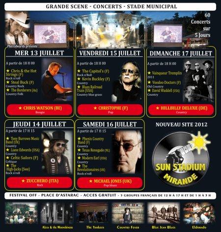 Programme du festival de Mirande.
