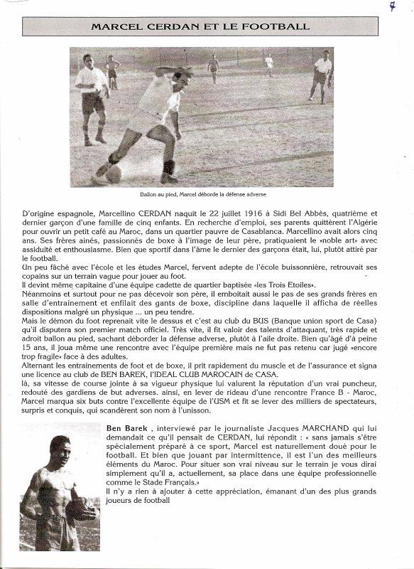 MARCEL CERDAN ET LE FOOTBALL