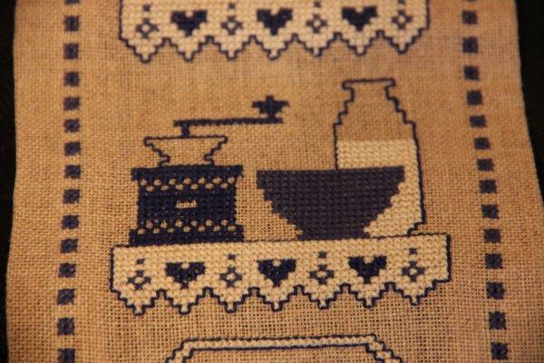 N° 21 - décoration de cuisine au point de croix tons bleu et beige - 8¤