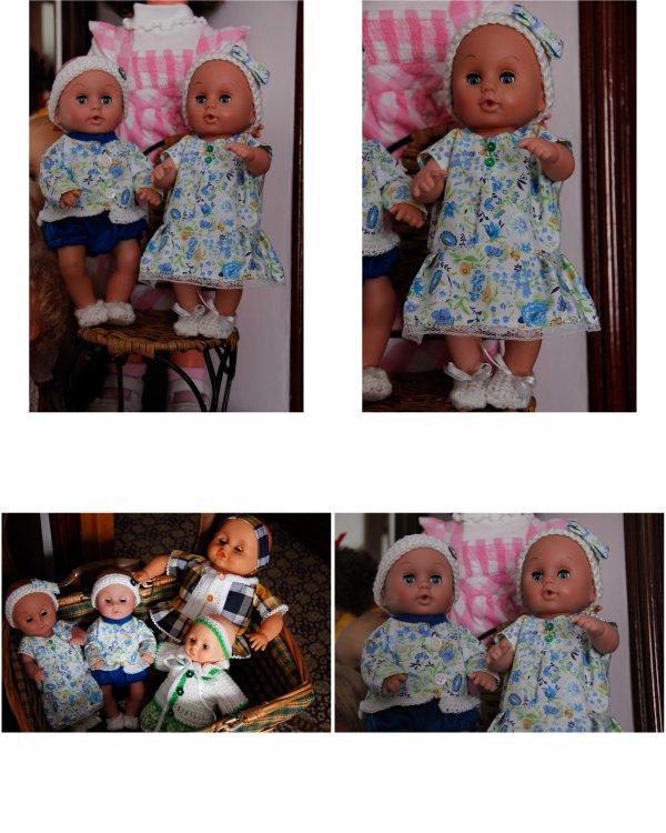 N° 104 (Lola) et N°105(Louis) A ADOPTER : les jumeaux, Lola et Louis, poupon de 27 cm chacun.