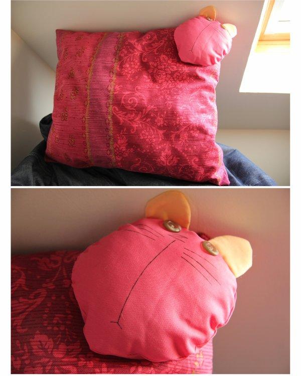 N° 111 - Grand coussin rose - tête de chat