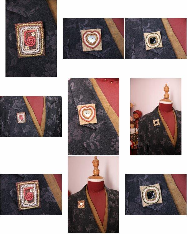 N° 115(1), N° 116(2), N° 117(3) - Broche brodée et bouton de nacre