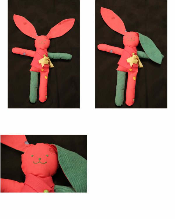 N° 202 - Lapin doudou rouge et vert
