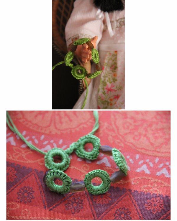 N°305 - bracelet coton vert perle de verre