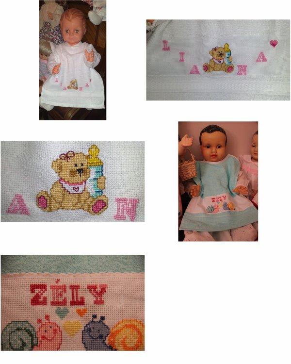 NOUVEAU ! - N°400 : bavoir bébé ou enfant brodé avec le prénom : 10 ¤ (délai 1 semaine)