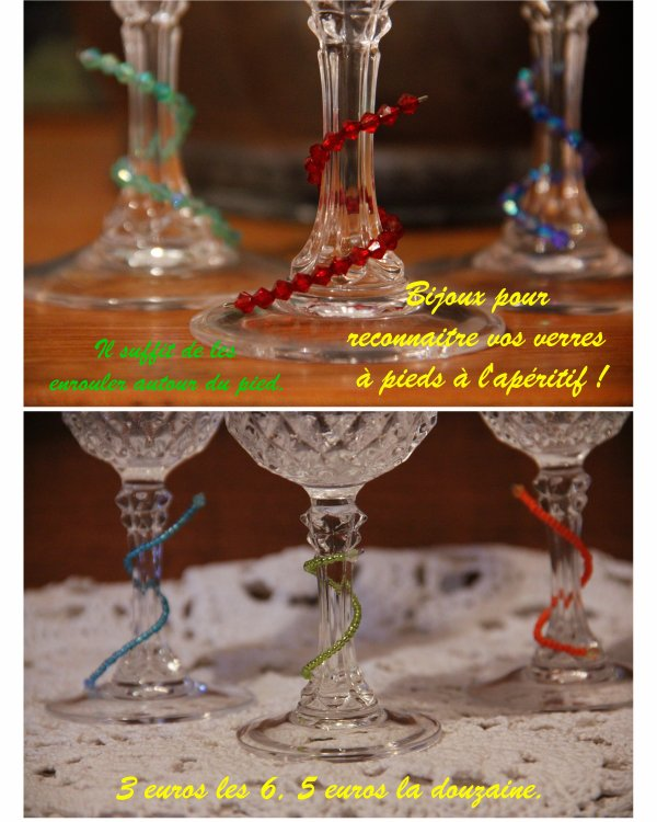Nouvelle création de l'AGAPPA : bijoux pour reconnaitre son verre à l'apéro !