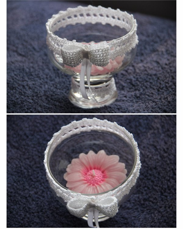 Mai 2015 - Bougie de table, modèle fleur et crochet - Création AGAPPA, modèle unique