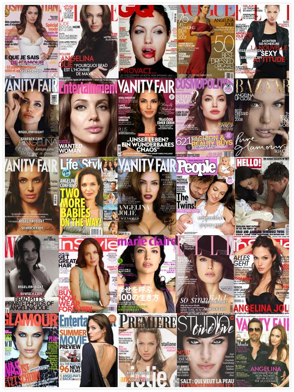 Angie la Covergirl...  Angelina est l'une des rares stars a avoir fait autant de couverture de magazine, elle a fait plus de 80 couvertures de magazines. Je vous ai mis TOUTES les couvertures d'Angie. Elle a fait pas moins de 10 fois la cover de Marie Claire et 8 fois celle de Vanity Fair ! Sans oublier que sur toutes les covers Angelina est magnifique, il n'y aucun shoot raté ou que l'on n'aime pas. Angelina est la femme parfaite.  Quel couverture préfèrez-vous ? Amusez vous à les comptez ! _________________klhflsqhlfsyosqghn gqsmlkhoqskhbbbuhd_____ANGIE ANGIE  Aucun plagiat n'est toléré, l'idée est de moi et j'ai pris du temps à trouver toutes les couvertures.
