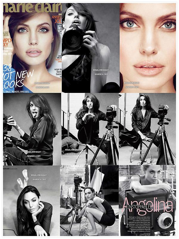 .  -Angelina Jolie fait la couverture du magazine Marie Claire (US) américain du numéro de janvier 2012. Angelina nous prouve par ce shoot, que malgré les années, elle est toujours la déesse d'Hollywood que l'on connait tous. Magnifique!  .