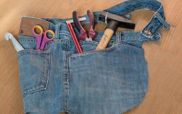 Tablier d'atelier sans couture, un DIY Upcycling avec un vieux Jeans en 5 minutes pour les activités nomades