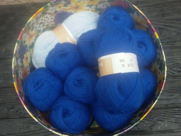 Mes achats de laine en magasin.