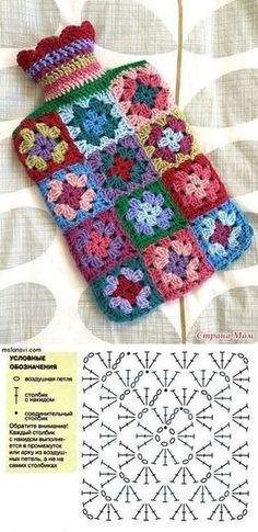 Couvre bouillotte au crochet, modèle granny, c'est facile.