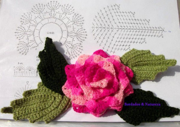 Fleur et feuilles au crochet.