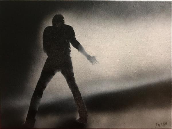 peinture sur toile .. Johnny Hallyday