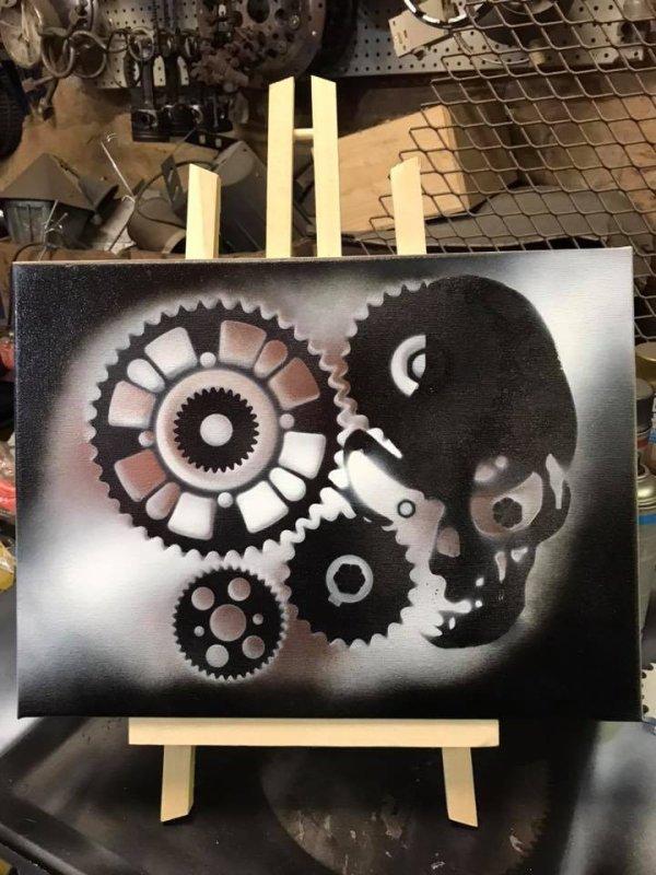 Peinture Skull engrenages par Falko