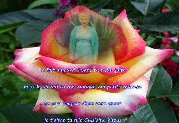 aujourd hui 3107/0215 tu nous a quite pour le paradi petite maman tu c'est tu me manque tu sera toujour dans mon coeur je t'aime maman ta fille Ghislaine