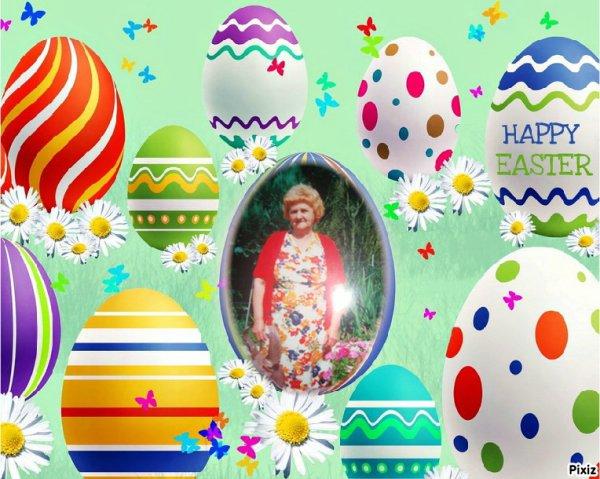 bonne fête de pâque  pour toi petite maman dans le grand paradis tu ne manque  ta fille Ghislaine bisous