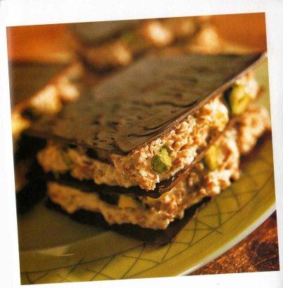 Feuilles de chocolat aux pistaches